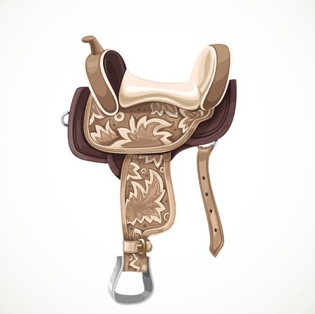 White and brown saddle with ornaments and embroidery for equestrian sport and entertainment isolated on a white background 向量圖像