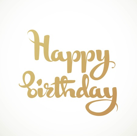 Happy birthday calligraphic inscription on a white background