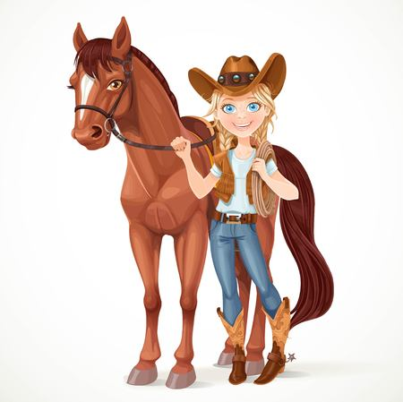 Teen girl dressed as a cowboy holds the reins saddled horse isolated on white background Vectores