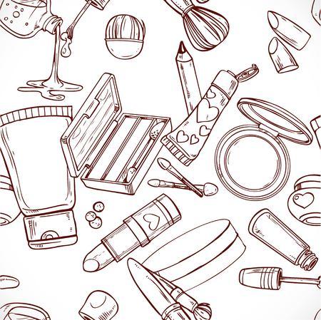 shadow face: Seamless pattern from doodles on cosmetics cream,eye shadow, face powder, brush, foundation cream, mascara... Illustration