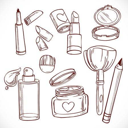 human face: Set of doodles on cosmetics  cream, face powder, lipstick, brush, foundation cream, pencil contour