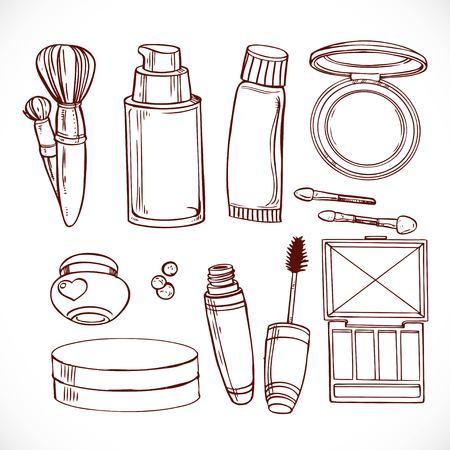 shadow face: Set of doodles on cosmetics  cream,eye shadow, face powder, brush, foundation cream, mascara