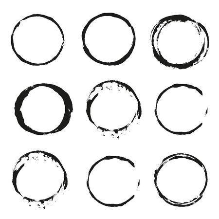 Set of vector black Wine stain circles on white background