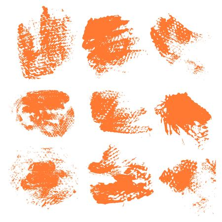 dry brush: Textured dry brush strokes of orange paint on white background 1