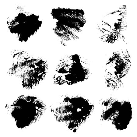 smears: Set of abstract vector rough imprints smears black paint on a white background