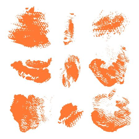 dry brush: Set of textured dry brush strokes of orange paint on white background Illustration