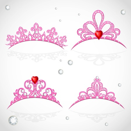 Set openwork pink tiaras with diamonds and faceted red stones in a heart shape on white background Illustration