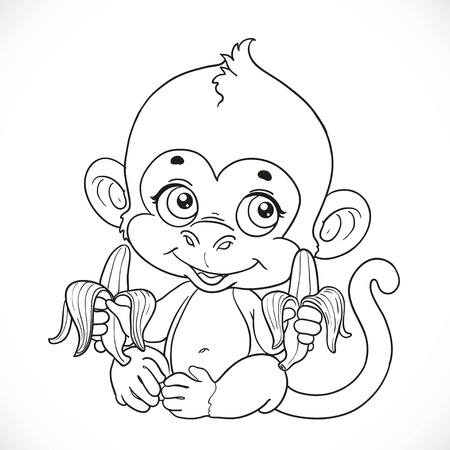 outlined isolated: Cute baby monkey with banana outlined isolated on a white background