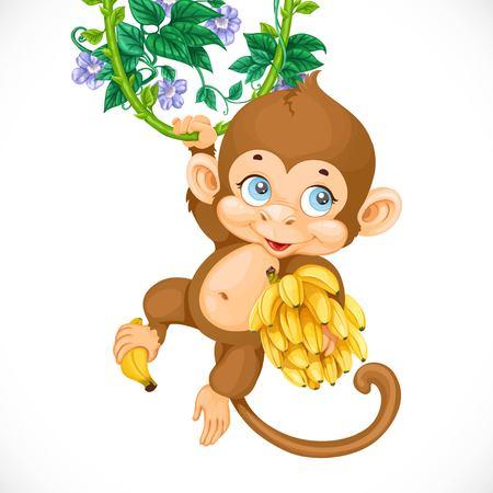 platano caricatura: Mono lindo del bebé con el plátano aislado en un fondo blanco
