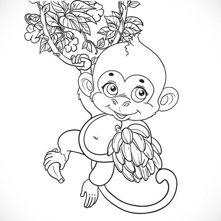 chango bebe: Cute baby monkey with bananas outlined isolated on a white background