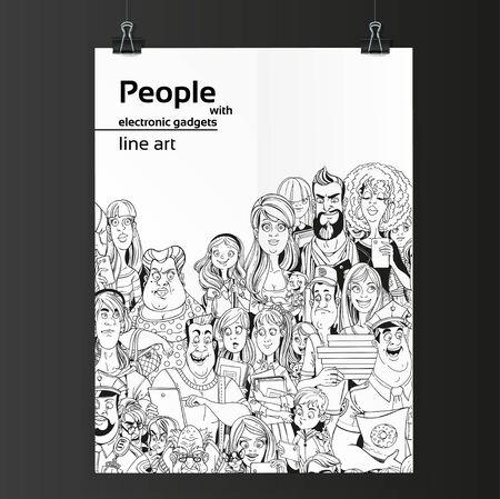 2 つのバインダーに掛かっている白い紙の上の電子ガジェット ライン アートを持つ人々 の群衆  イラスト・ベクター素材