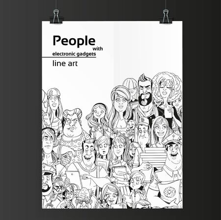 old cell phone: Crowd of people with electronic gadgets line art on white paper hanging on two binders