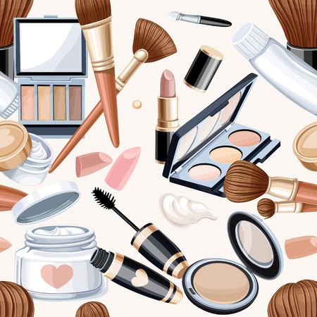 cosmetics background: Seamless pattern from cosmetics objects in bege color