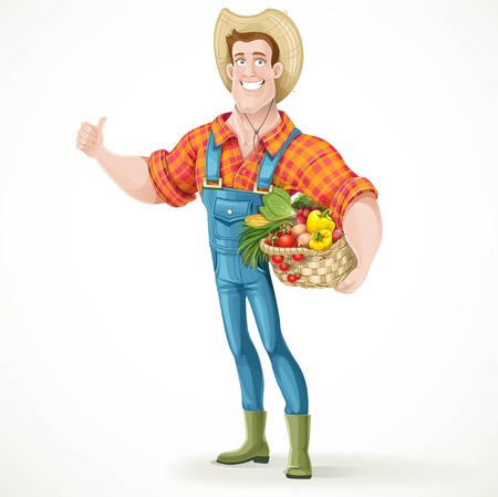 cartoon human: Cute young guy farmer with a big basket of vegetables showing thumbs up isolated on white background