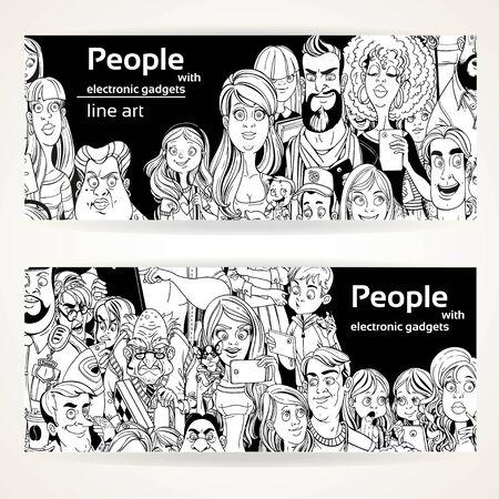fila de personas: Las personas con aparatos línea de arte en dos banners horizontales sobre un fondo blanco