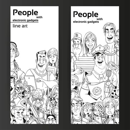 old cell phone: People with electronic gadgets line art on two vertical banners on a black background