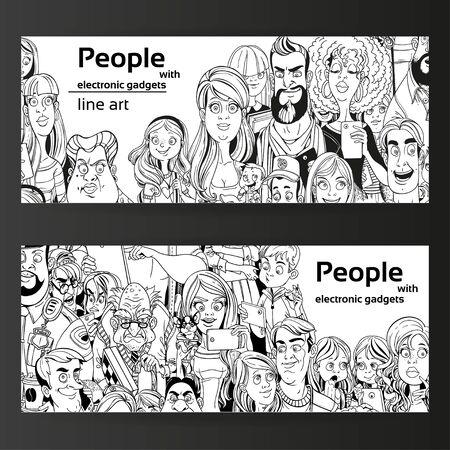 fila de personas: Las personas con aparatos línea de arte en dos banners horizontales sobre un fondo negro Vectores