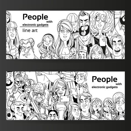 old cell phone: People with electronic gadgets line art on two horizontal banners on a black background