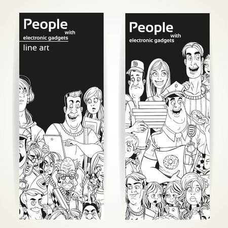 old cell phone: People with electronic gadgets line art on two vertical banners on a white background