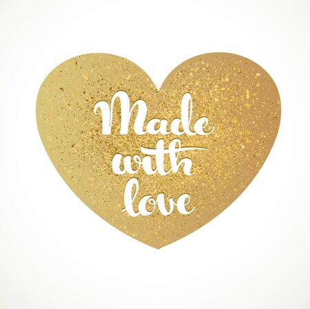 gold heart: Made with lowe calligraphic inscription on a gold heart background Illustration