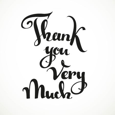 very: Thank you very much calligraphic inscription on a white background