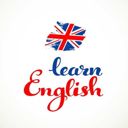 Learn English calligraphic inscription on a white background