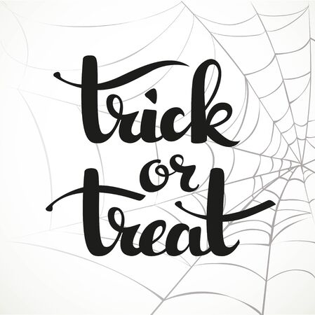 tratar: Trick or treat calligraphic inscription on a white background