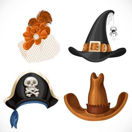 wiedźma: Zestaw kapelusze dla kostiumów karnawałowych - kobieta retro kapelusz, kapelusz czarownicy, kapelusz pirata z chustą i brązowej kowbojski kapelusz na białym tle Ilustracja
