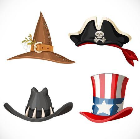 Set Hüte für den Karneval Kostüme - Uncle Sam Hut, Hexenhut, Piratenhut mit Kopftuch und Cowboy-Hut auf einem weißen Hintergrund