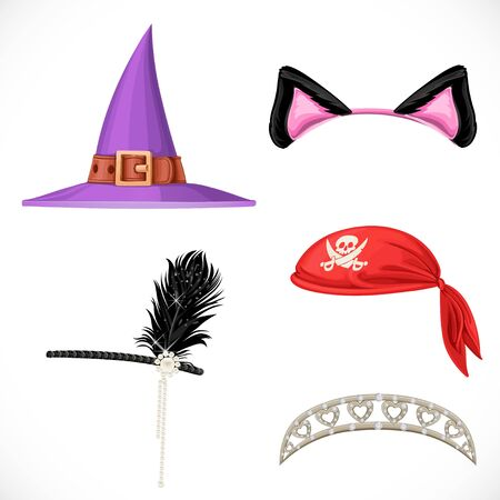 princesa: Conjunto de sombreros para los trajes de carnaval - sombrero de bruja, pirata pañuelo rojo, diadema de princesa y orejas de gato en el aro aislado en un fondo blanco