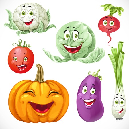 Cartoon vegetables smiles pumpkin, green onions, cabbage, cauliflower, tomato, eggplant, radishes Illustration