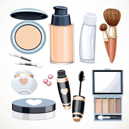 balm: Set of objects cosmetics cream,eye shadow, face powder, brush, foundation cream, Mascara isolated on a white background