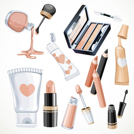Set of cosmetics objects in beige color lipstick,nail polish, eye contour cream, eye shadow, eyeliner and cream in a tube