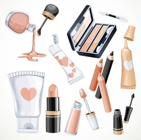color in: Conjunto de cosméticos objetos en el lápiz labial de color amarillento, esmalte de uñas, crema de contorno de ojos, sombra de ojos, delineador de ojos y crema en un tubo