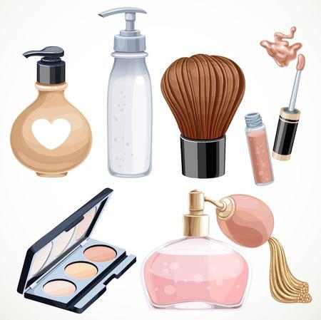 l�piz labial: Conjunto de cosm�ticos objetos pincel de sombra, perfume, l�piz labial aislado en un fondo blanco
