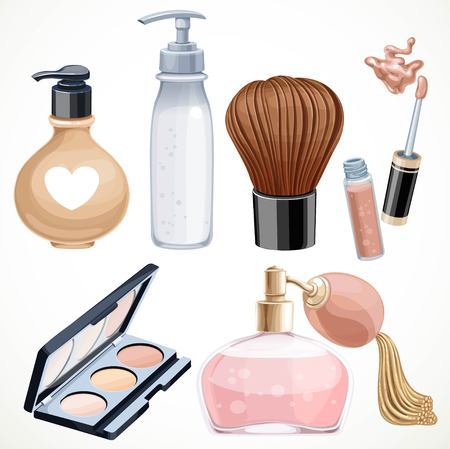 Set of cosmetics objects shadow brush, perfume, lipstick isolated on a white background