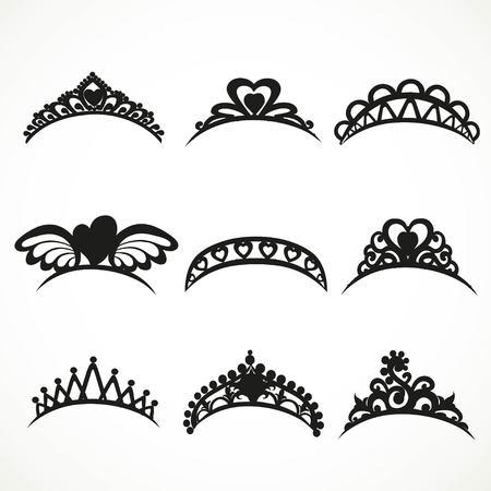 corona navidad: Set siluetas de tiaras de diversas formas aisladas sobre un fondo blanco Vectores