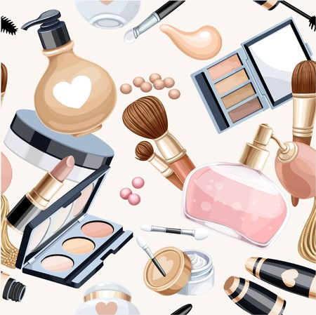 cosmetics: Seamless pattern from cosmetic objects cream,eye shadow, brushes, foundation cream, mascara...