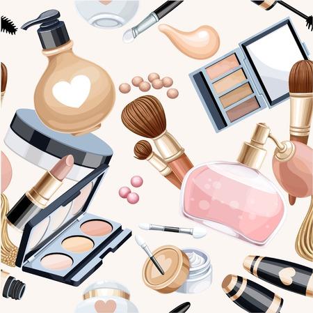 cosmeticos: Sin fisuras patr�n de crema de objetos cosm�ticos, sombra de ojos, cepillos, base de maquillaje, m�scara de pesta�as ... Vectores
