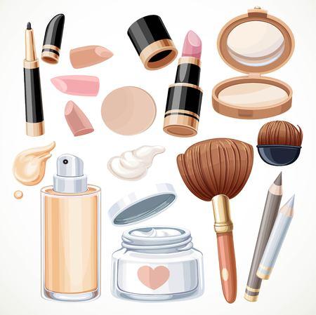 lipstick brush: Set of cosmetics bjects cream, face powder, lipstick, brush, foundation cream, pencil contour isolated on a white background