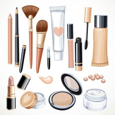 Conjunto de cosméticos objetos lápiz, pincel, rubor, lápiz labial, rimel aislado en un fondo blanco Foto de archivo - 48574496