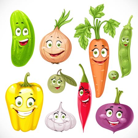 in peas: Cartoon vegetables smiles garlic, hot peppers, sweet peppers, carrots, beets, onions, cucumber