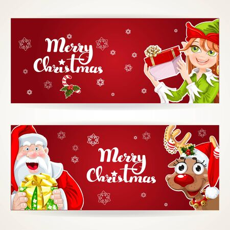 clip art santa claus: Santa Claus and Elf with gift on two Christmas horizontal blank banners on a white background