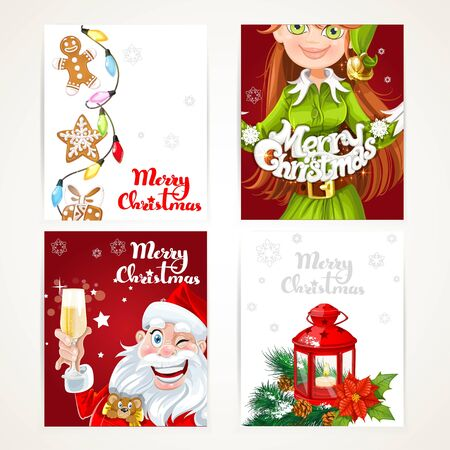 elf: Santa Claus and Elf with gift on red and white Christmas vertical banners set on a white background