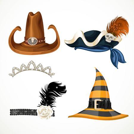 czarownica: Zestaw kapelusze dla kostiumów karnawałowych - retro, tiara, kapelusz czarownicy, pirat kapelusz i kowbojski kapelusz na białym tle Ilustracja