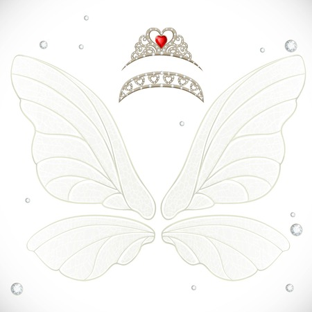 object complement: Fairy white wings with tiaras bundled isolated on a white background