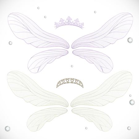 bundled: White and violet fairy wings with tiara bundled isolated on a white background