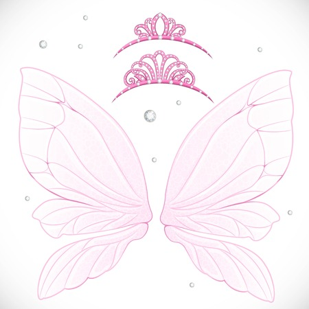 object complement: Pink fairy wings with tiara bundled isolated on a white background Illustration