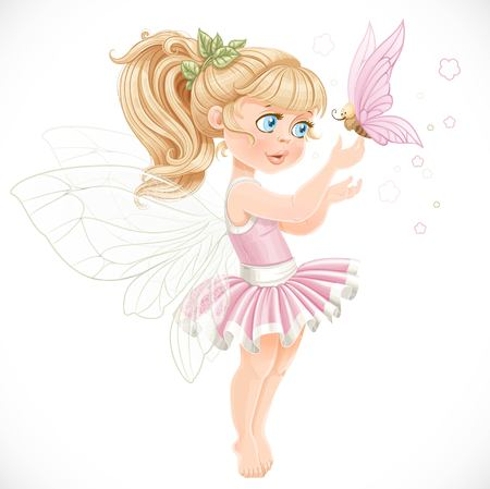 hadas caricatura: Dulce de hadas en un tutú rosa la celebración de una gran mariposa en el dedo aislado en un fondo blanco
