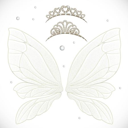 object complement: Fairy wings with tiara bundled isolated on a white background Illustration